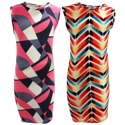 Girls Midi Dress Chevron & Abstract Print Sleeveless Midi Dress Stylish Fashion Dresses Age 7 8 9 10 11 12 13 Years