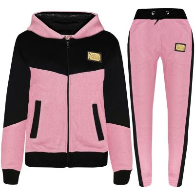 A2Z Trendz Unisex Tracksuit Kids Designer's A2Z Badged Contrast Panel Hooded - T.S 602 Baby Pink 11-12
