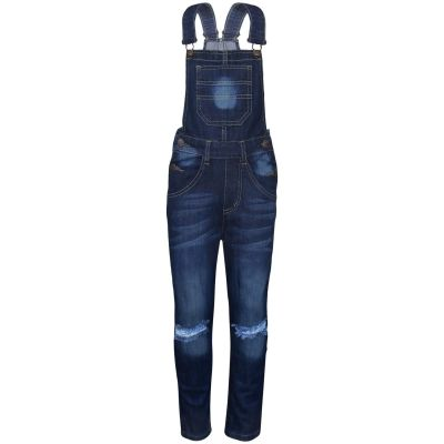A2Z Trendz Kids Girls Denim Dungaree Designer's Knee Ripped Dark Blue Jeans Overall All In One Jumpsuit Playsuits Age 5 6 7 8 9 10 11 12 13 Years