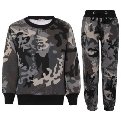 Girls Boys Camouflage Sweatshirt & Bottom Tracksuit