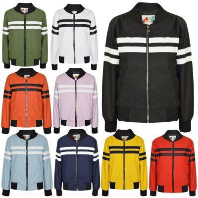 A2Z Trendz Kids Boys PU Leather Jacket Contrast Striped Bomber Zip Up Mock Neck Varsity Baseball Fashion School Bikers Coats New Age 5 6 7 8 9 10 11 12 13 Years