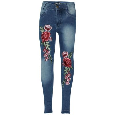 A2Z Trendz Kids Girls Stretchy Jeans Designer's Rose Embroidered Mid Blue Denim Pants Fashion Fit Trousers Jeggings New Age 3 4 5 6 7 8 9 10 11 12 Years