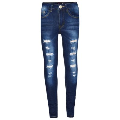 A2Z Trendz Kids Girls Skinny Jeans Designer's Dark Blue Denim Ripped Stretchy Jeggings Pants Fashion Trousers New Age 3 4 5 6 7 8 9 10 11 12 13 Years