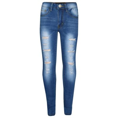A2Z Trendz Kids Girls Skinny Jeans Designer's Mid Blue Denim Ripped Stretchy Jeggings Pants Fashion Trousers New Age 3 4 5 6 7 8 9 10 11 12 13 Years