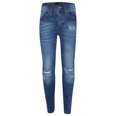 Girls Stretchy Jeans Kids Light Blue Denim Ripped Pants Frayed Trousers 5-13 Yrs