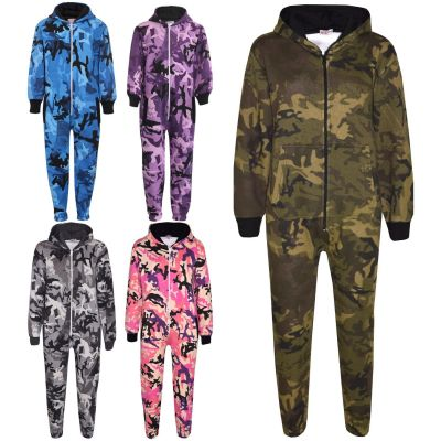 A2Z Trendz Kids Fleece Onesie Girls Boys Designer's Camouflage Print All In One Jumsuit Playsuit New Age 5 6 7 8 9 10 11 12 13 Years
