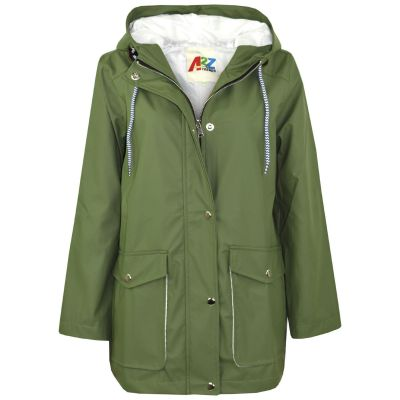 A2Z Trendz Kids Girls Boys PU Raincoat Jackets Designer's Green Windbreaker Waterproof Cagoule Hooded Rainmac Shower Resistant Coats Age 5 6 7 8 9 10 11 12 13 Years