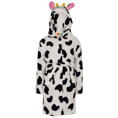 A2Z Trendz Kids Girls Bathrobes Designer's 3D Animal Cow Hooded Soft Short Fleece Dressing Gown Nightwear Loungewear Age 2-13 Years