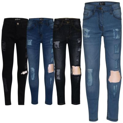 A2Z Trendz Kids Girls Stretchy Denim Jeans Designer's Ripped Faded Fashion Jeggings Skinny Frayed Pants Stylish Trousers New Age 5 6 7 8 9 10 11 12 13 Years