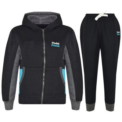 A2Z Trendz Kids Boys Girls Tracksuit Designer's Pedal Power Print Black Zipped Hooded Top & Botom Jogging Suit Joggers New Age 5 6 7 8 9 10 11 12 13 Years