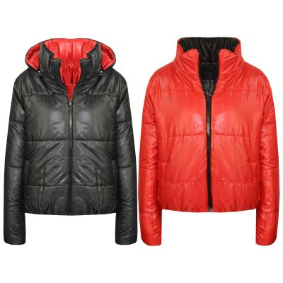 A2Z Trendz Girls Jacket Kids Designer's Black Reversible Cropped Hooded Padded Quilted Puffer Jackets Warm Thick Coats New Age 5 6 7 8 9 10 11 12 13 Years