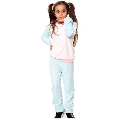 Kids Girls Boys Pyjamas Mermaid Print Loungewear Flannel Fleece Nightwear PJS.