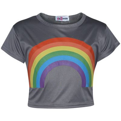 A2Z Trendz Kids Girls Crop Tops Rainbow Print Steel Grey Stylish Fahsion Trendy T Shirt Tank Top & Tees New Age 5 6 7 8 9 10 11 12 13 Years