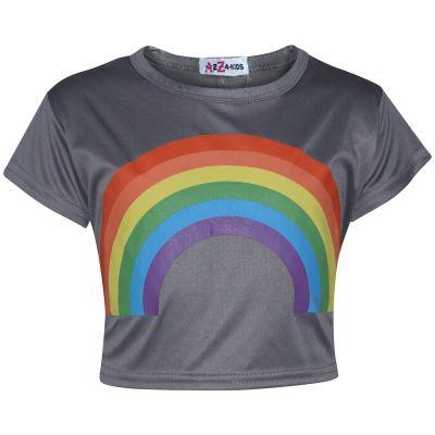 A2Z Trendz Kids Girls Crop Tops Rainbow Print Steel Grey Stylish Fahsion Trendy T Shirt Tank Top & Tees New Age 5 6 7 8 9 10 11 12 13 Years