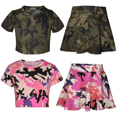 A2Z Trendz Kids Girls Crop Top And Skater Skirt Camouflage Print Trendy Fashion Summer Outfit Set New Age 5 6 7 8 9 10 11 12 13 Years