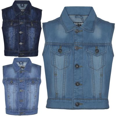 A2Z Trendz Kids Boys Denim Jacket Designer's Fashion Jeans Gilet Faded Stylish Sleeveless School Jackets Coats New Age 3 4 5 6 7 8 9 10 11 12 13 Years