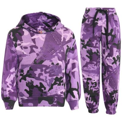 Girls Camouflage Print Hooded Tracksuit