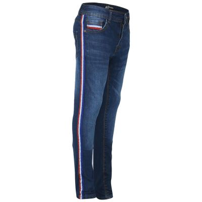 Kids Boys Denim Jeans Contrast Taped Dark Blue Stretchy Pants Trouser 5-13 Years
