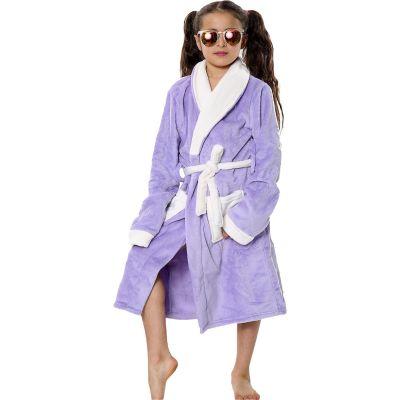 Kids Girls Boys Bathrobes Plain Lilac Soft Dressing Gown Loungewear.