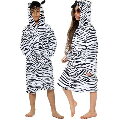 Unisex Girls Boys Bathrobe 3D Animal Zebra Dressing Gown.