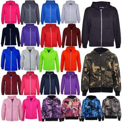 Kids Girls & Boys Unisex Plain Fleece Hoodie Zip Up Style Zipper Age 5 6 7 8 9 10 11 121 3 Years
