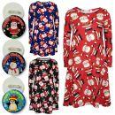 A2Z Trendz Girls Christmas Dress Kids Santa Print New Xmas Fashion Dresses With A Free Xmas Badge New Age 3 4 5 6 7 8 9 10 11 12 13 Years