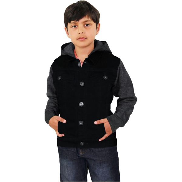 Kids Boys Jackets Designer Jet Black Denim Jeans Fashion Jacket Coat Age 3-13 Yr