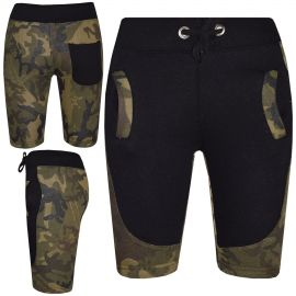Kids Boys Girls Shorts Two Tone Camouflage Blue Summer Chino Knee Length Pants