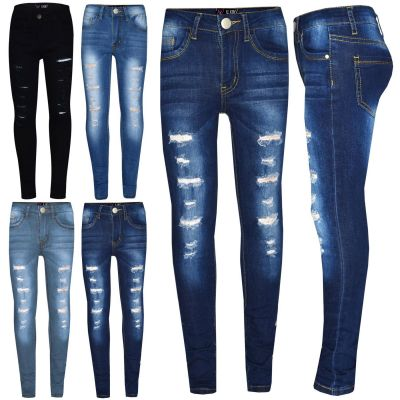 Kids Girls Stretchy Jeans Designer Black Ripped Drape Panel Denim Pants Trousers