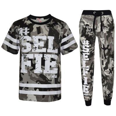 Boys Top Kids New York Brooklyn 98 Camouflage T Shirt Tops /& Trouser Set 7-13 Yr