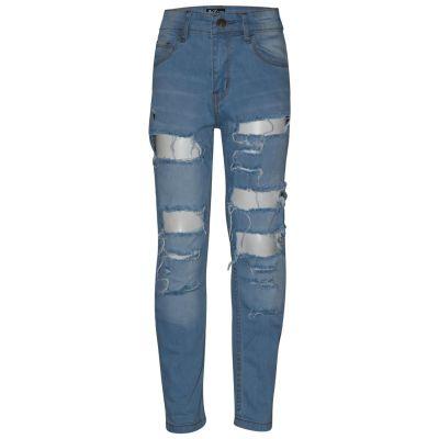 Kids Boys Jet Black Stretchy Jeans Designer/'s Ripped Skinny Denim Pants Trousers