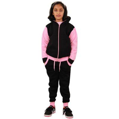 Girls Boys Tracksuit Kids Plain Contrast Stripes Hooded Jogging Suit Top Bottom