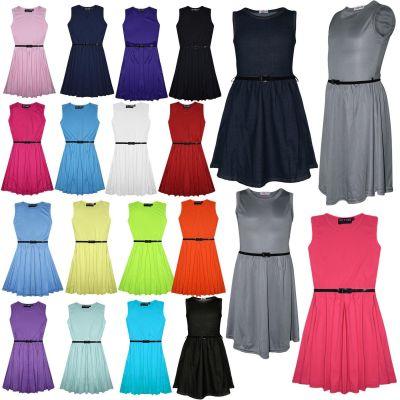 Girls Kids Floral Summer Skater Dress Bright Orange Green Age 7 8 9 10 11 12 13